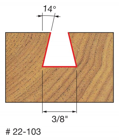 Joinery 3/8″ (Dia.) x 3/8″ H Dovetail Bit