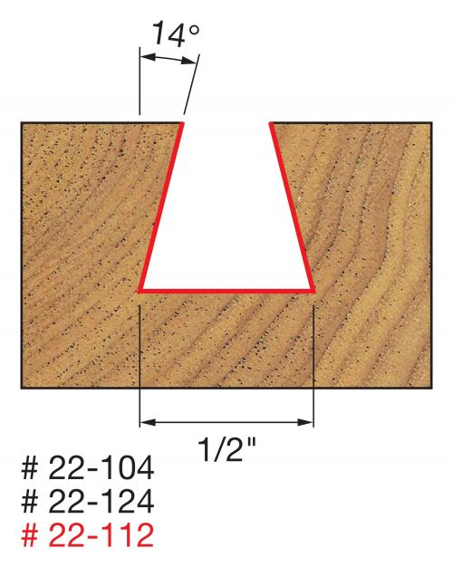 Joinery 1/2″ (Dia.) x 1/2″ H Dovetail Bit