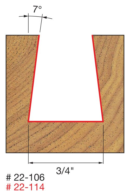 Joinery 3/4″ (Dia.) x 7/8″ H Dovetail Bit