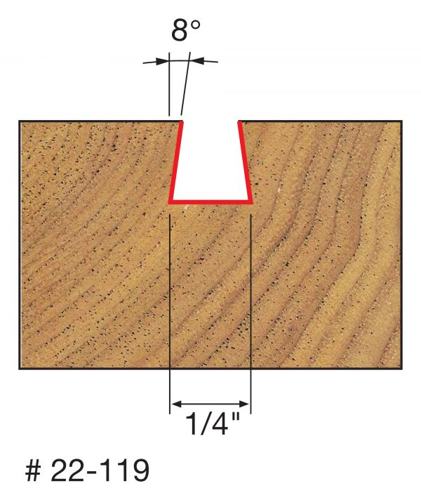 Joinery 1/4″ (Dia.)1/4″ H Dovetail Bit