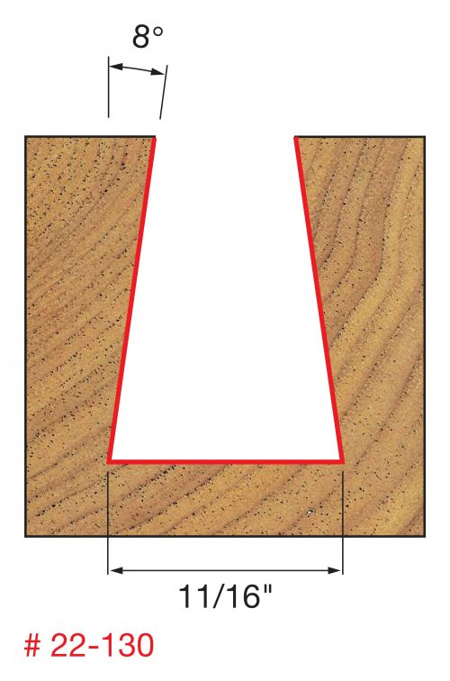 Joinery 11/16″ (Dia.) x 1″ H Dovetail Bit