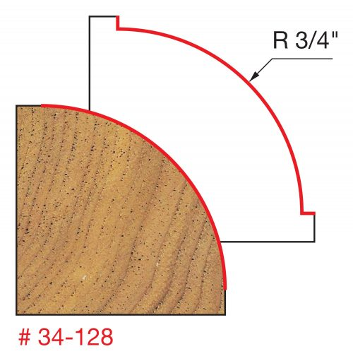 Edge Treatment 3/4″ Radius Rounding Over Bit (Quadra-Cut)