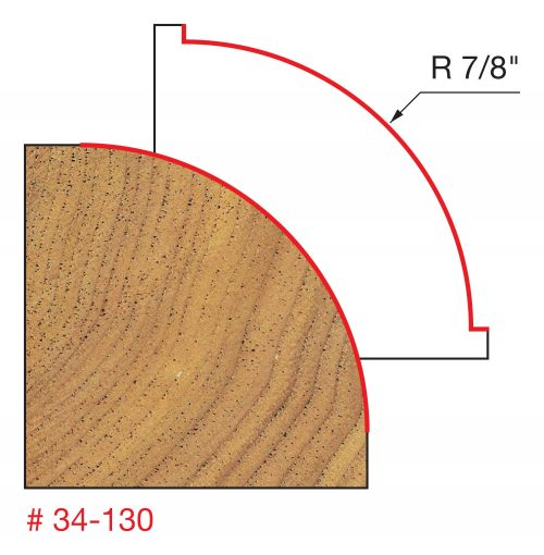 Edge Treatment 7/8″ Radius Rounding Over Bit (Quadra-Cut)