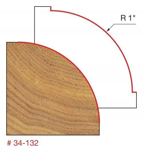 1″ Radius Rounding Over Bit (Quadra-Cut)