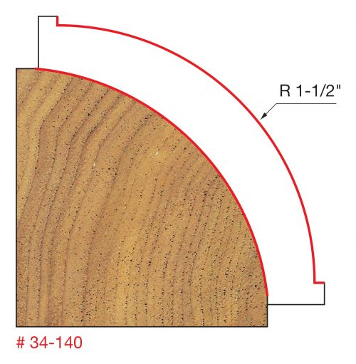 Edge Treatment 1-1/2″ Radius Rounding Over Bit (Quadra-Cut)