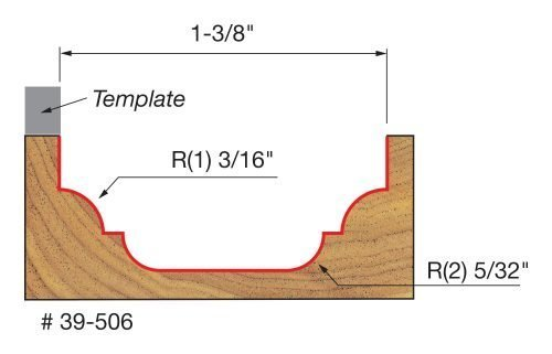 Edge Treatment 1-3/8″ (Dia.) Top Bearing Classical Cove & Bead Groove with 3/8″ Shank
