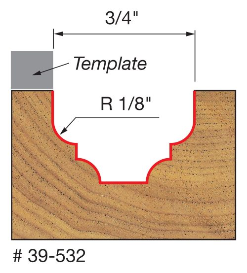 Edge Treatment 5/32″ Radius Top Bearing Fillet Ogee Groove Bit with 3/8″ Shank