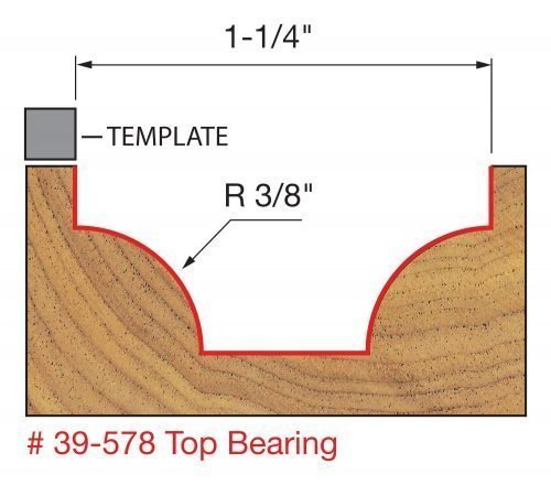 Edge Treatment 5/32″ Radius Top Bearing Cove & Bead Groove Bit with 3/8″ Shank