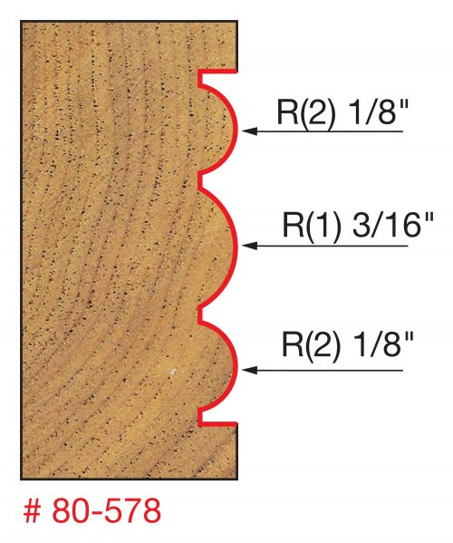 Edge Treatment 15/16″ (Dia.)x 3/16″ Large Radius Triple Beading Bit (1/2″ Shank)