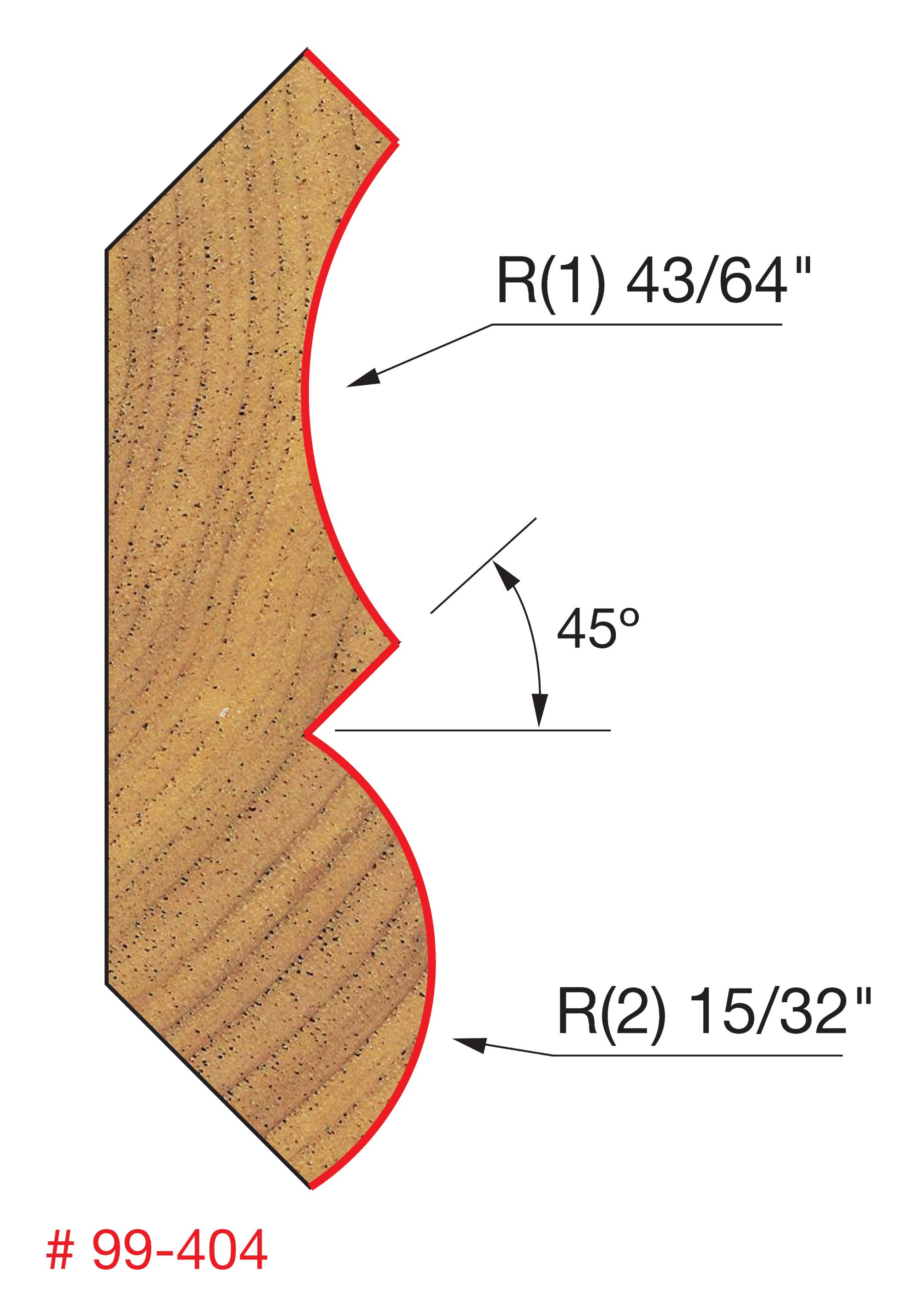 Dia. Freud 1-1//4 99-404 Crown Molding Bit with 1//2 Shank