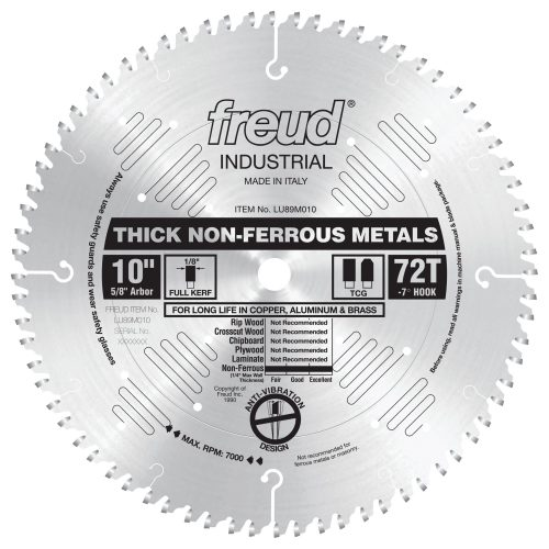 Freud® Woodworking Blades 10″ Thick Non-Ferrous Metal Blade