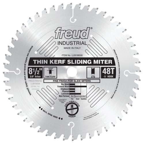 Freud® Woodworking Blades 8-1/2″ Thin Kerf Sliding Compound Miter Saw Blade