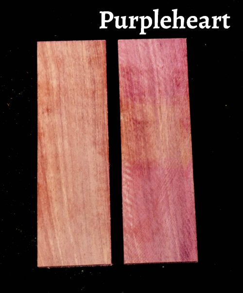 purple heart wood knife scale bookmatched